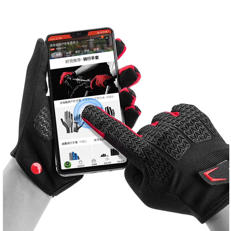 Red And Black Winter Bike Sports Gloves For Sweaty Hands