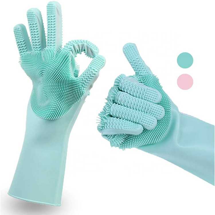 Medium Green Household Cleaning Gloves For Better Grip Washing